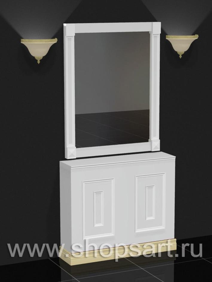 Тумба с зеркалом из ЛДСП белый цвет, с декоративной раскладкой из массива дуба.