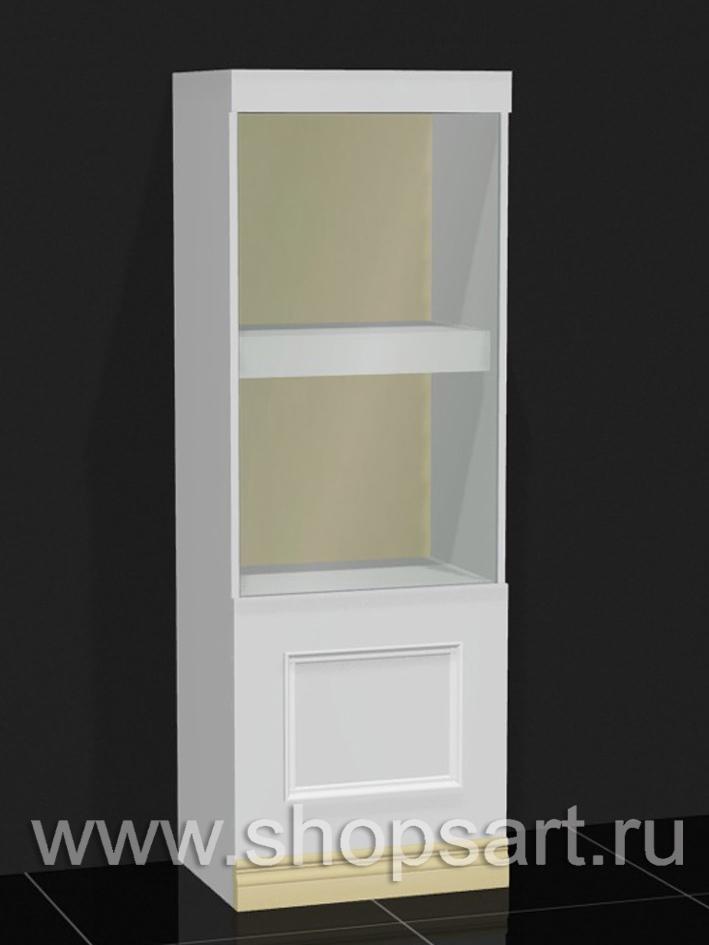 Витрина-шкаф низкая прямая, с распашной дверкой.