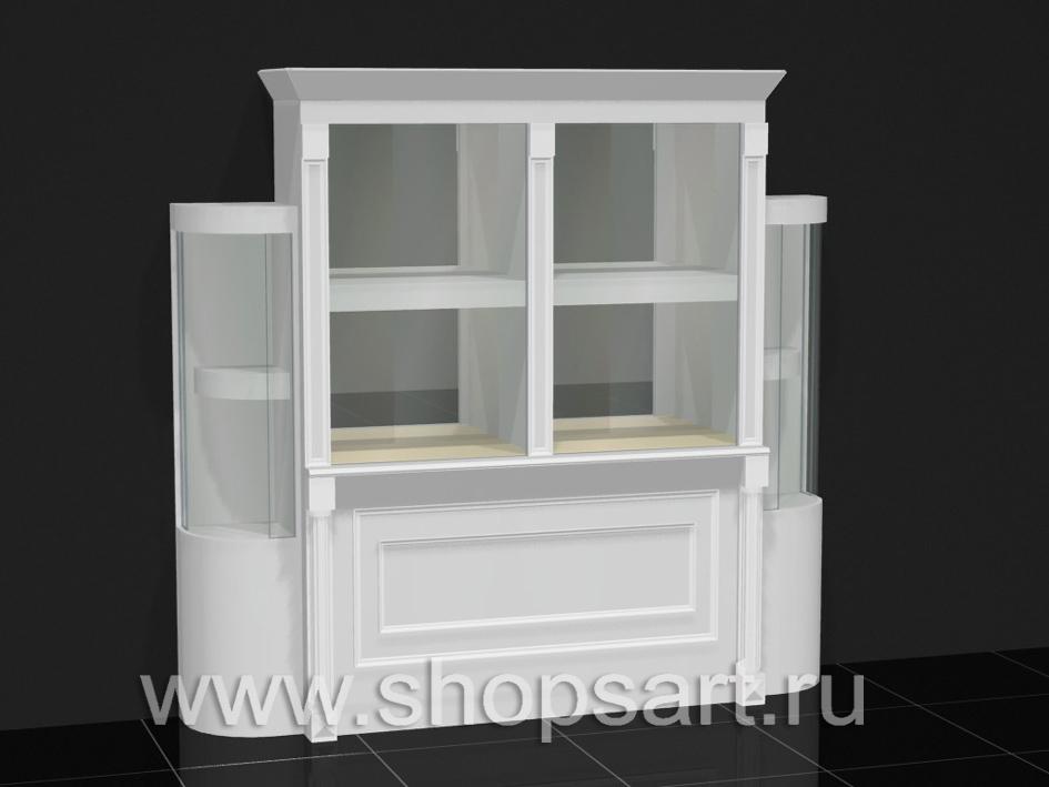 Витрина классическая с радиусными стеклами.
