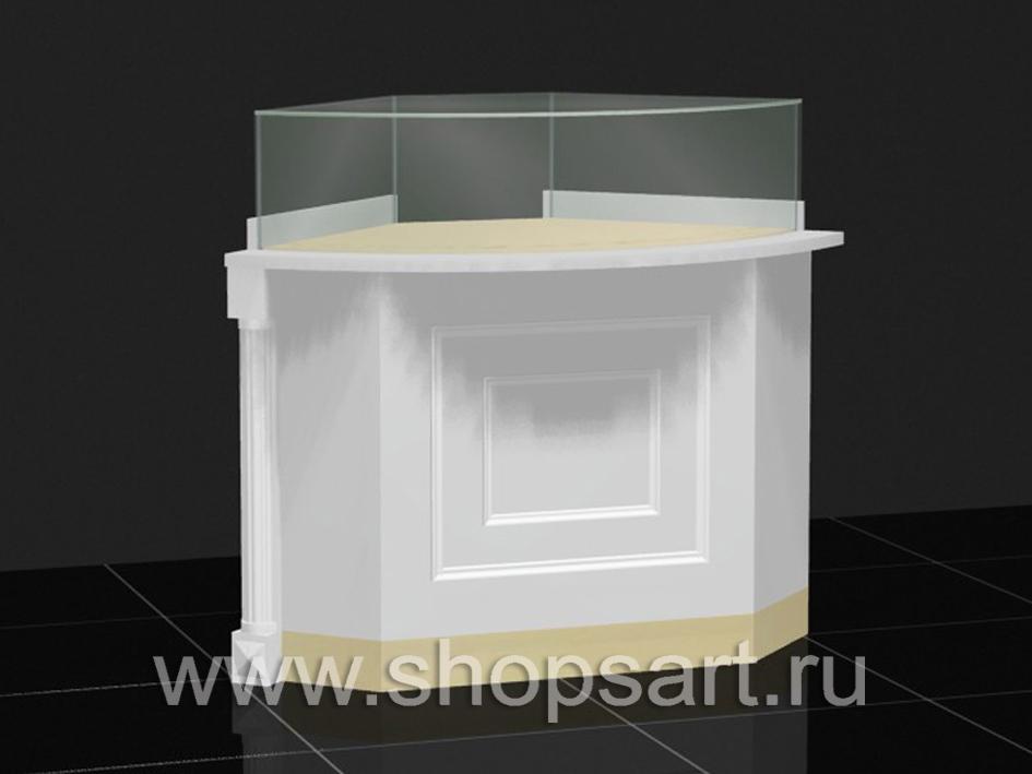 Прилавок угловой радиусный из ЛДСП белого цвета, с декоративными элементами из массива дуба.