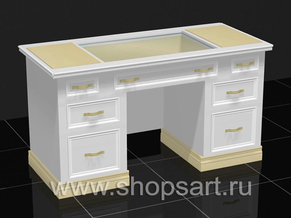 Стол демонстрационый с выдвижными ящиками и стеклянным прилавком