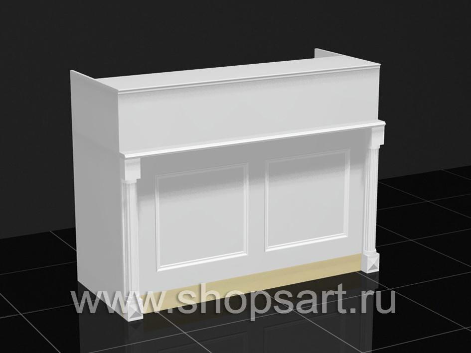 Кассовый стол, из ЛДСП белого цвета, с декоративными элементами из массива дуба.