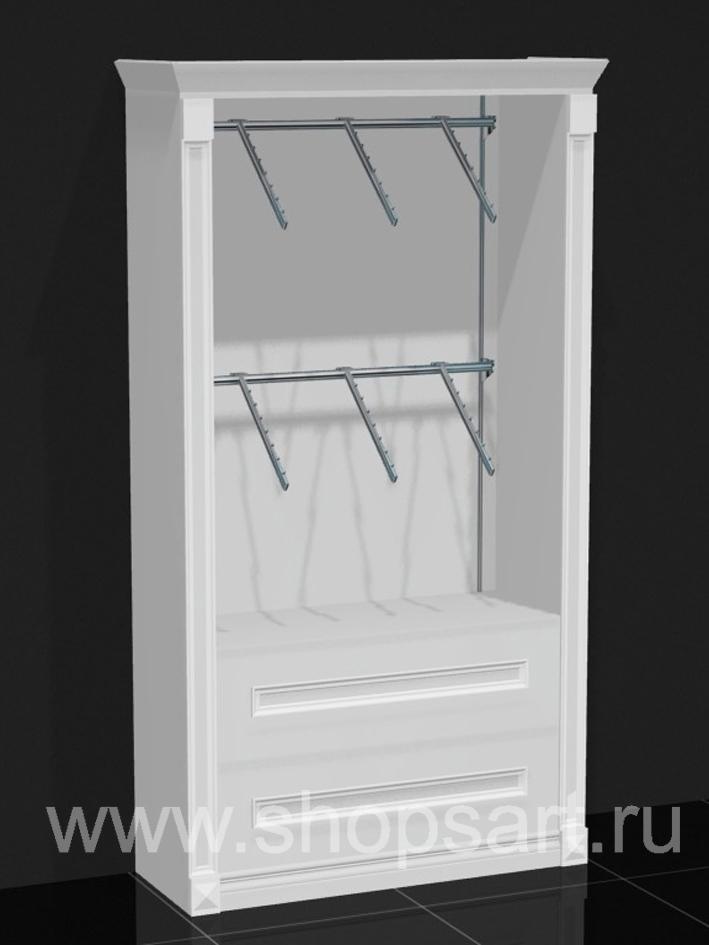 Шкаф торговый пристенный накопитель ящики Белая классика