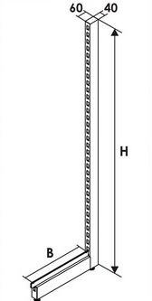 Стойка дополнительная пристенного стеллажа