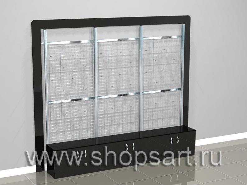 007 Стеллажи пристенные с сетчатыми задними стенками. Размер блока 3130х2600х500мм. Стеллажи на базе перфорированной стойки 40х40х2400мм (хром). Комплектация: решетка 2000х800мм, накопители 900х500х400мм. с распашными дверками (МДФ суперглянец), подиумы 900х400х100мм (МДФ суперглянец), рамки 150мм. (МДФ суперглянец). Стойки перфорированные на опоре, не требуют крепления к стене. Стеллаж пристенный используется для выкладки и навески посуды, сковородок, аксессуаров для кухни и других товаров.