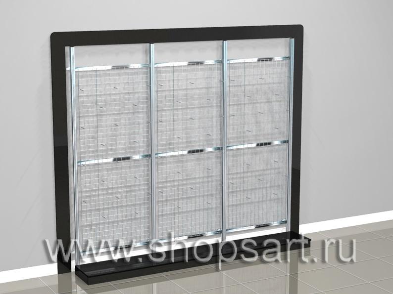 008 Стеллажи пристенные с сетчатыми задними стенками. Размер блока 3130х2600х500мм. Стеллажи на базе перфорированной стойки 40х40х2400мм (хром). Комплектация: решетка 2000х800мм, накопители 900х500х400мм. с распашными дверками (МДФ суперглянец), подиумы 900х400х100мм (МДФ суперглянец), рамки 150мм. (МДФ суперглянец). Стойки перфорированные на опоре, не требуют крепления к стене. Стеллаж пристенный используется для выкладки и навески посуды, сковородок, аксессуаров для кухни и других товаров. В нижней части стеллажей устанавливаются подиумы для выкладжки крупногабаритных товаров.