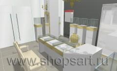 Визуализация ювелирного салона Золотой имидж ТРЦ Авиапарк Москва