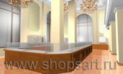 Дизайн интерьера ювелирного магазина торговое оборудование КОРИЧНЕВАЯ КЛАССИКА Дизайн 2
