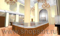 Дизайн интерьера ювелирного магазина торговое оборудование КОРИЧНЕВАЯ КЛАССИКА Дизайн 3