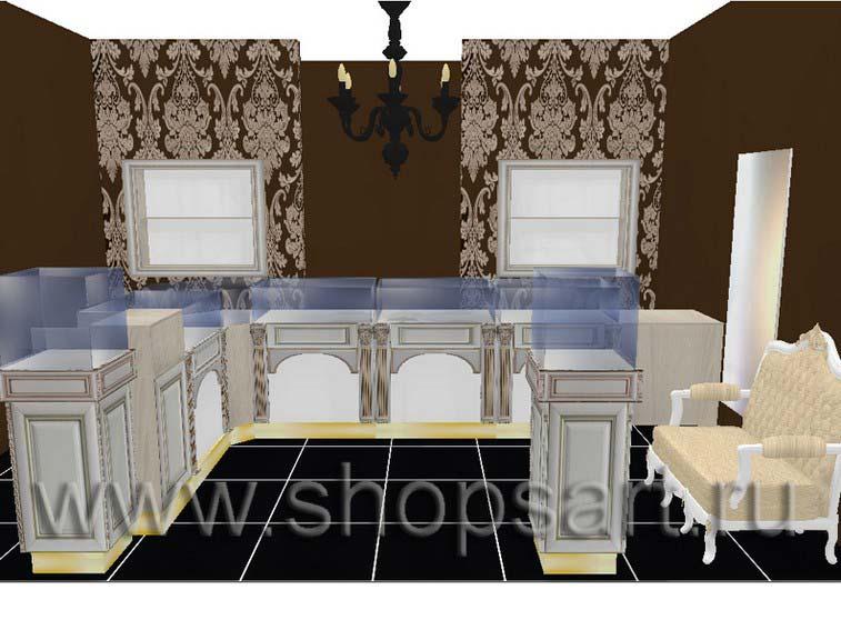 Дизайн интерьера ювелирного магазина Нефрит коллекция ЭЛИТ ГОЛД