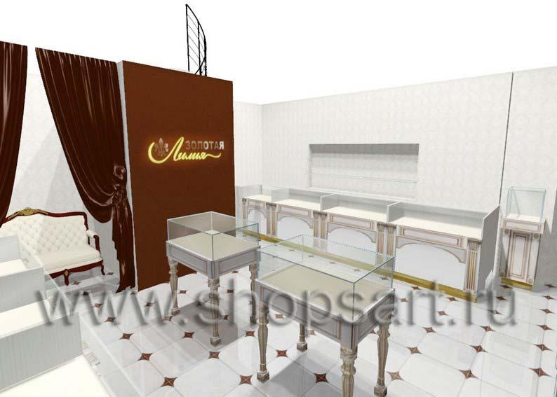 Дизайн интерьера ювелирного магазина Золотая Лилия коллекция ЭЛИТ ГОЛД