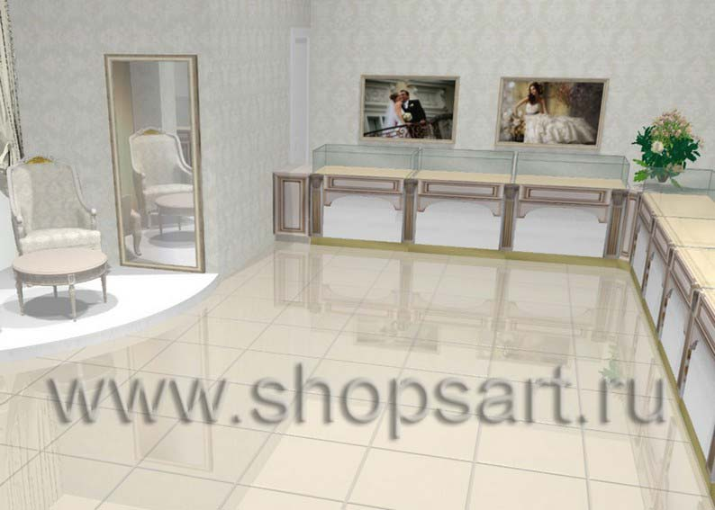 Дизайн интерьера ювелирного магазина Обручальное кольцо коллекция ЭЛИТ ГОЛД
