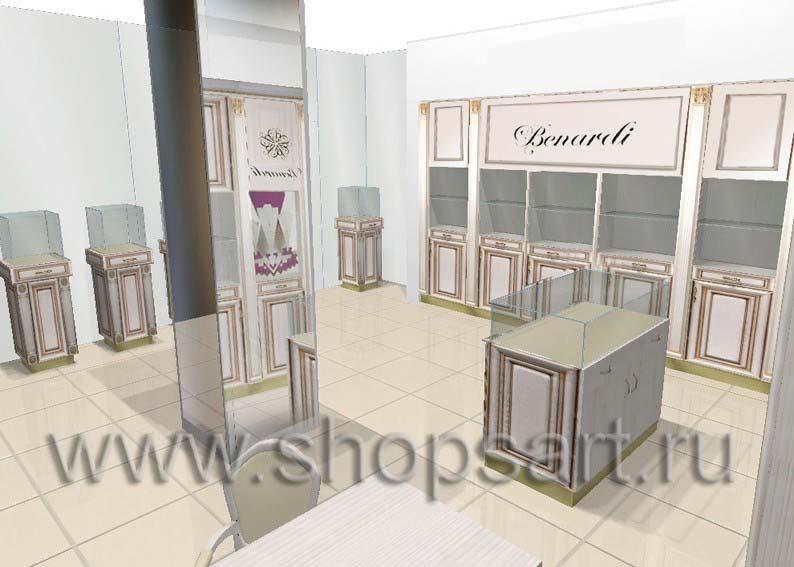 Дизайн интерьера ювелирного магазина Benardi коллекция ЭЛИТ ГОЛД