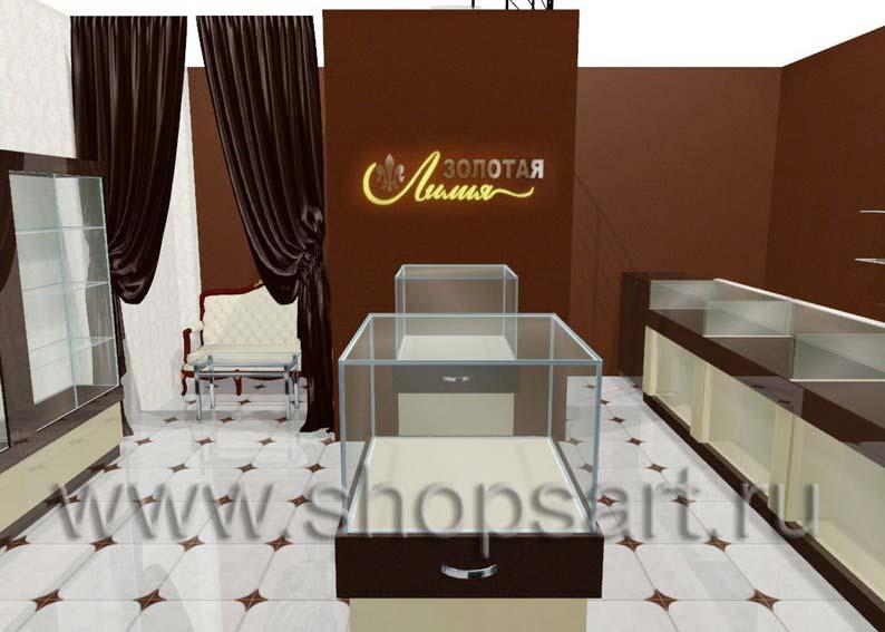 Дизайн интерьера ювелирного магазина Золотая Лилия коллекция КОФЕ С МОЛОКОМ
