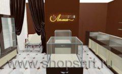 Дизайн интерьера ювелирного магазина Золотая Лилия коллекция КОФЕ С МОЛОКОМ Дизайн 01