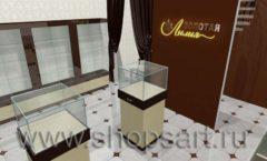 Дизайн интерьера ювелирного магазина Золотая Лилия коллекция КОФЕ С МОЛОКОМ Дизайн 02