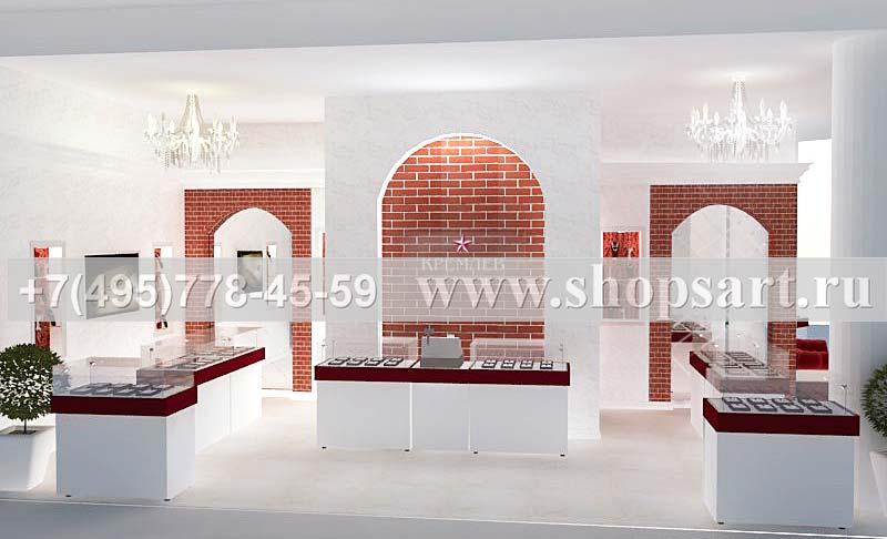 Дизайн интерьера ювелирного магазина Кремлев Москва КРЕМЛЕВСКОЕ ЗОЛОТО