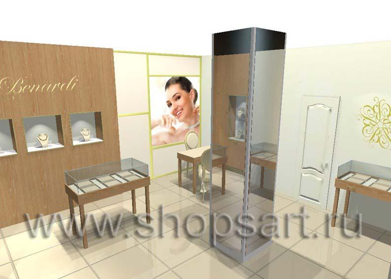 Дизайн интерьера ювелирного магазина Benardi коллекция ФИОЛЕТОВЫЙ СТИЛЬ