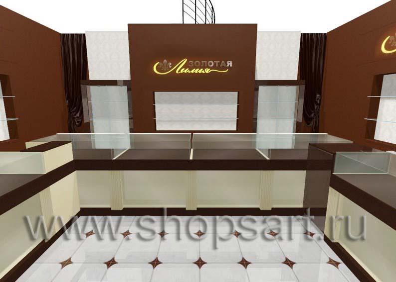 Дизайн интерьера ювелирного магазина Золотая Лилия коллекция ЭТАЛОН