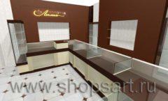 Дизайн интерьера ювелирного магазина Золотая Лилия коллекция ЭТАЛОН Дизайн 3
