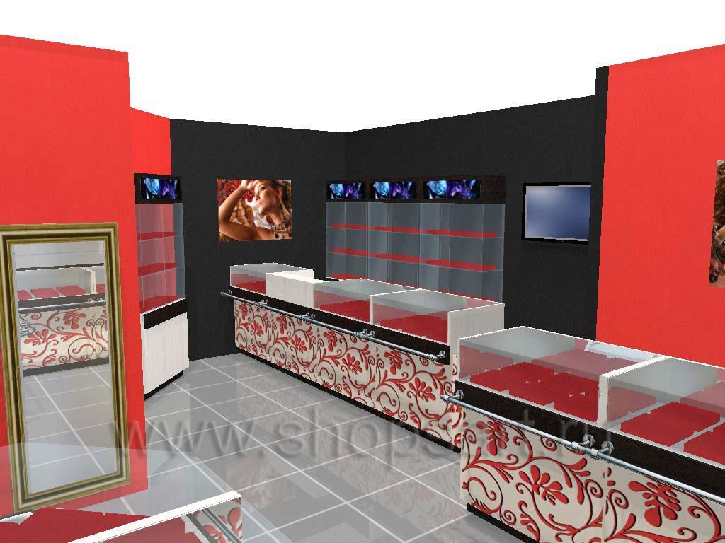 Дизайн интерьера ювелирного магазина Сапфир коллекция КОРАЛЛ