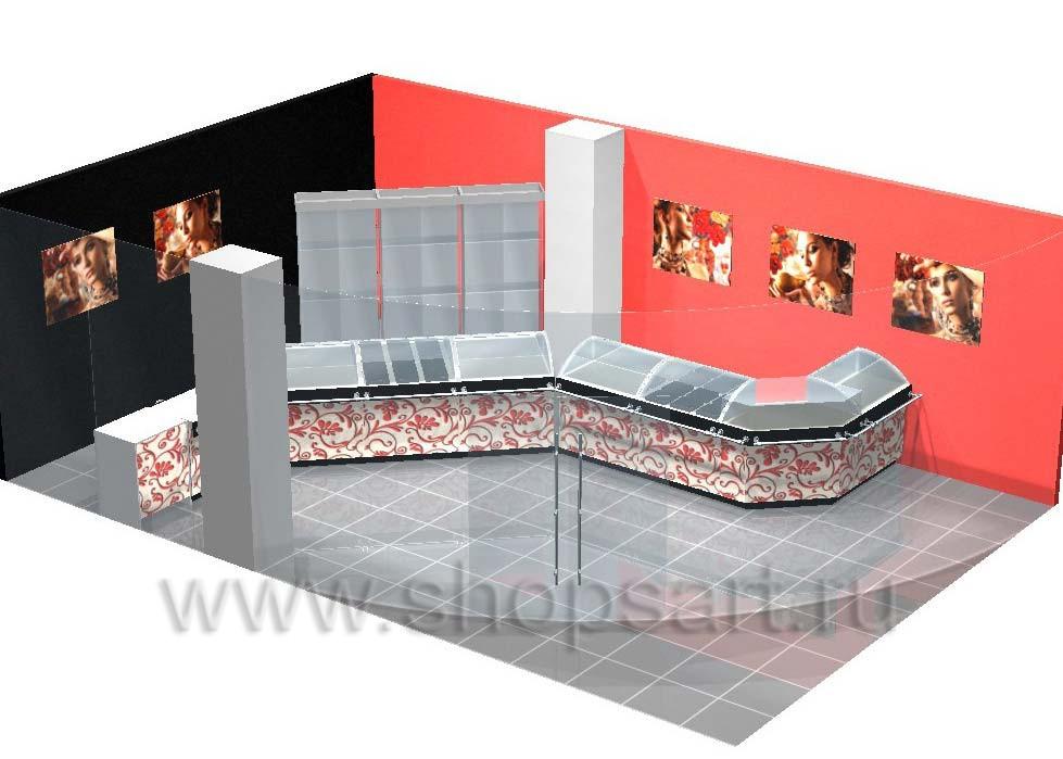 Дизайн интерьера 2 ювелирного магазина Сапфир коллекция КОРАЛЛ