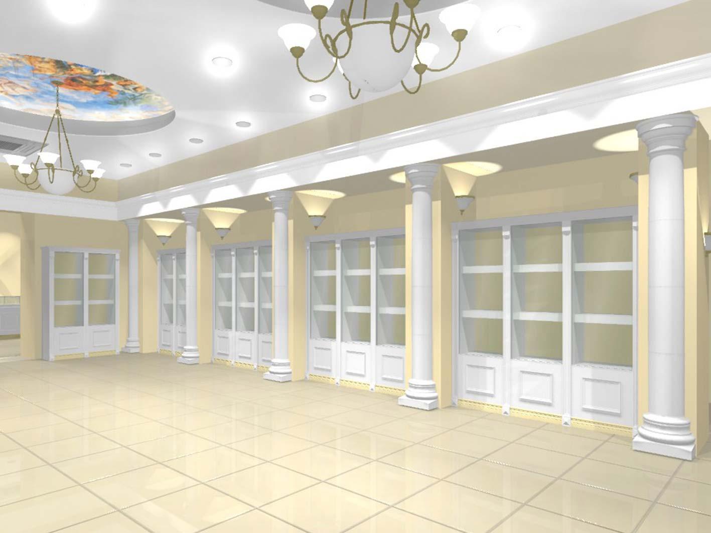 Дизайн интерьера ювелирного магазина коллекция БЕЛАЯ КЛАССИКА