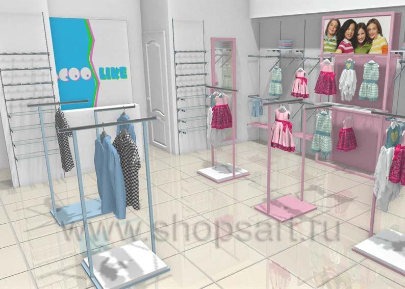 Торговое оборудование детского магазина одежды ACOO LIKE Дизайн РАДУГА