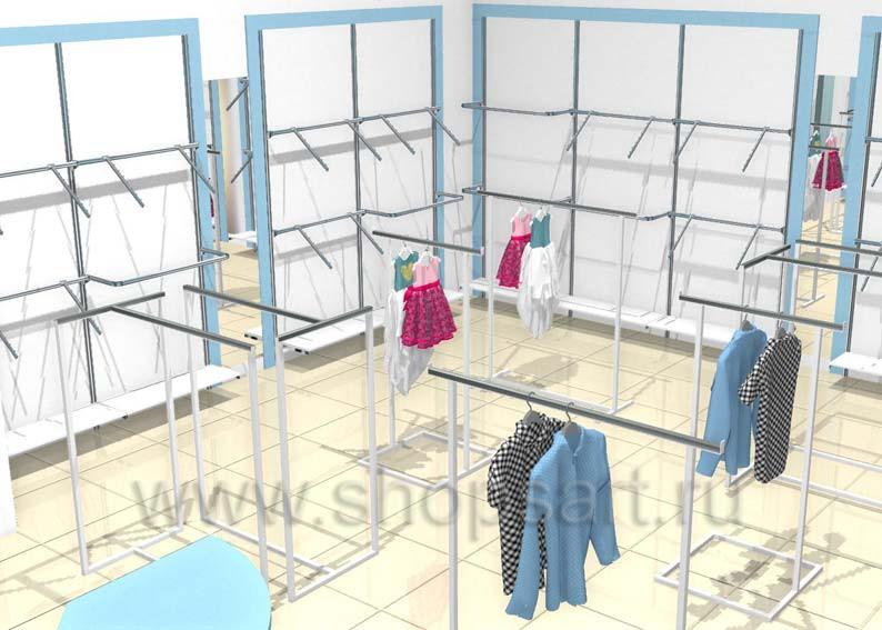 Торговое оборудование детского магазина одежды Ивбэби Дизайн WHITE STAR