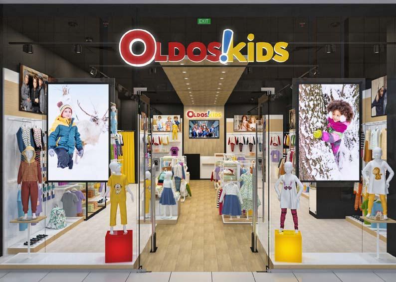 Торговое оборудование детского магазина одежды OLDOS KIDS Дизайн РАДУГА