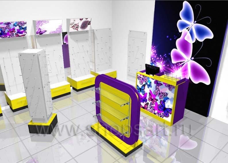 Торговое оборудование магазина бижутерии Дизайн БИЖУЛЕНД