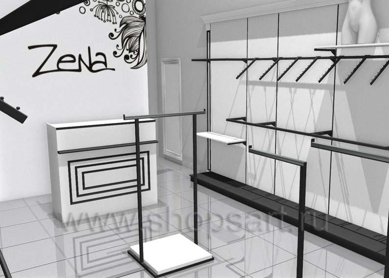 Торговое оборудование магазина одежды Зена Дизайн BLACK STAR