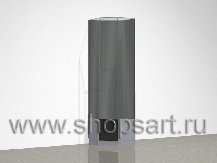Стеклянная угловая витрина - трапеция
