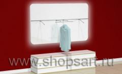 Настенная панель для одежды с радиусными углами, накопителем и подсветкой.