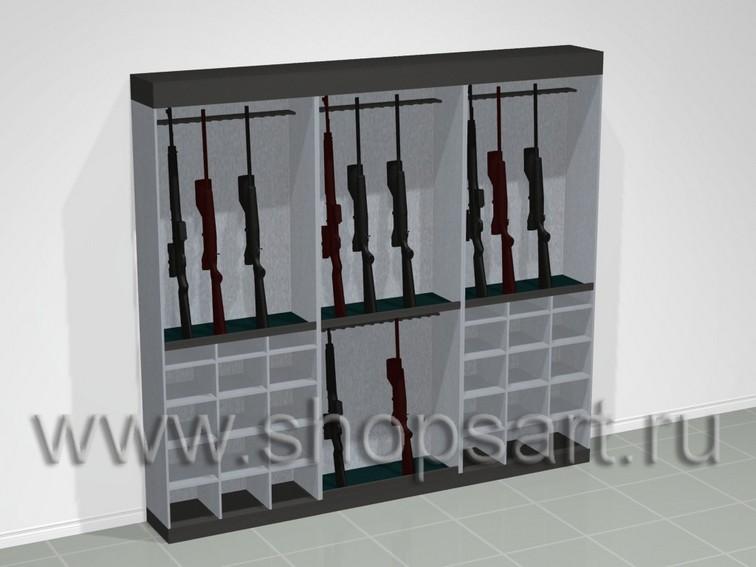 Блок шкафов для выкладки пневматического оружия и аксессуаров.