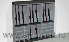 Блок шкафов для выкладки оружия аксессуаров ОХОТА И РЫБАЛКА