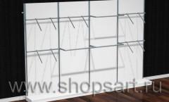 Стеллажи пристенные с фронтальными и П-образными кронштейнами, для одежды