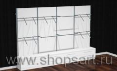Стеллажи пристенные с фронтальными и П-образными кронштейнами, для одежды, и накопителями с выдвижными ящиками.