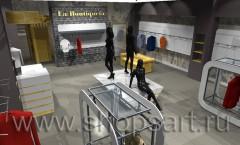 Визуализация магазина женской одежды La Boutiqueta МИНИМАЛИЗМ