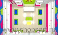 Визуализация детского магазина обуви на основе коллекции Карамель