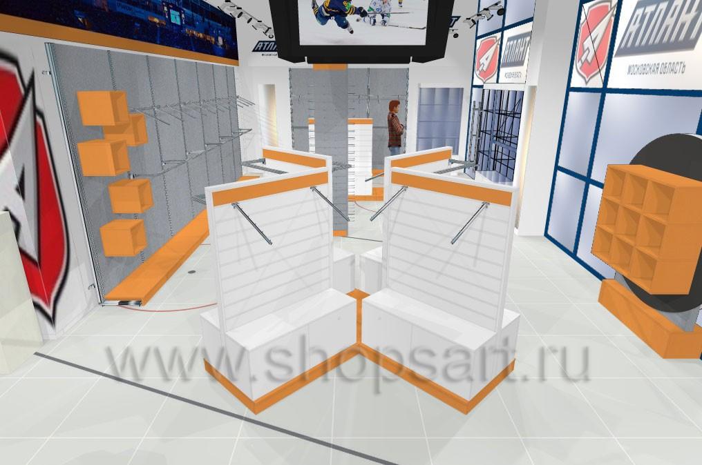 Торговая мебель для магазинов спортивной одежды коллекции АТЛАНТА