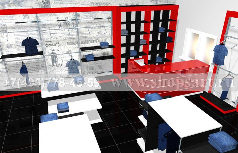 Торговая мебель для магазинов одежды коллекции КРАСНАЯ ЛИНИЯ