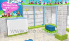 Торговое оборудование АКВАРЕЛИ детского магазина ВОЛШЕБНАЯ ПРОГУЛКА Дизайн 04