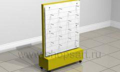 Стойка островная желтая пластиковые панели торговое оборудование БИЖУЛЕНД
