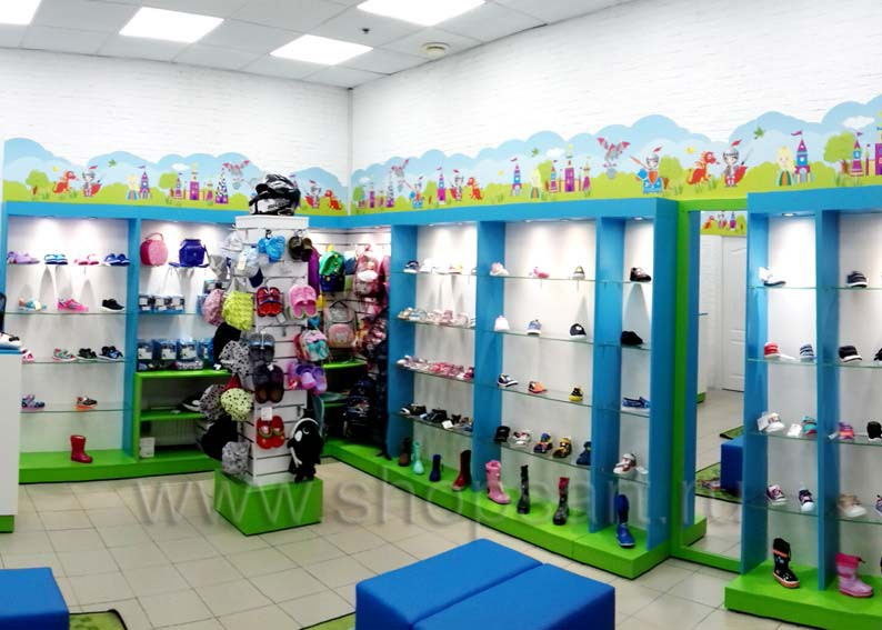 Торговое оборудование для детского магазина обуви Волшебная прогулка АКВАРЕЛИ