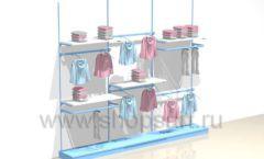 Блок пристенных стеллажей для одежды торговое оборудование РАДУГА