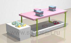 Стол торговый с подиумом и тумбой торговое оборудование РАДУГА