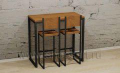 Комплект стол пристенный со стульями мебель для кафе баров ресторанов Лофт