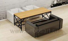 Комплект прямоугольный стол диван кресла мебель для кафе баров ресторанов Лофт