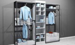 Блок пристенных стеллажей для одежды подиум торговое оборудование ЛОФТ